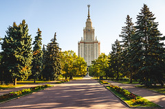 Main building of Moscow State University. (ivan_volchek) Tags: amazing angle architecture background building city cityscape construction day education evening facade famous flower high landmark landscape mgu monument moscow msu park road russia russian scenery scenic science seven sisters sky skyscraper soviet spire square star state statue style sunny tower tree university urban ussr view