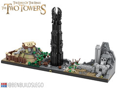 Lego The Lord of the Rings: The Two Towers Skyline (2) (BenBuildsLego) Tags: lord rings lotr orthanc edoras gandalf fantasy beautiful benbuildslego lego legos skyline architecture instructions middle earth new zealand brick bricks two towers helms deep bricklink studio render 3d