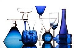 50 Shades of Blue (Karen_Chappell) Tags: blue white glass stilllife glasses product colour color colourful stemware glassware shapes curves