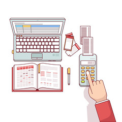 Business man planning and calculating his expenses (anil.webrication) Tags: flat icon vector isolated illustration symbol concept object template background design elements modern style thin line linear art outline infographic business man businessman office worker manager consultant white cost spending payment pay price commission salary settlement calculating finances budget bills account schedule scheduling plan planning timetable tasklist notebook laptop computer
