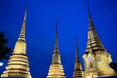 Wat Pho chedis at night
