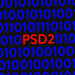Blue binary code on screen with red text PSD2
