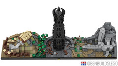 Lego The Lord of the Rings: The Two Towers Skyline (3) (BenBuildsLego) Tags: lord rings lotr orthanc edoras gandalf fantasy beautiful benbuildslego lego legos skyline architecture instructions middle earth new zealand brick bricks two towers helms deep bricklink studio render 3d