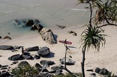 on my way. (Ardan_Dojan) Tags: beach sandy seaside clear calm rock pool rocks palm water walking surfboard nature naturephotography travel trip landscapephotography warm spring landscape ripples reflection australia photoart art liquid