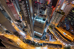 Don't Look Down 1 (TVZ Photography) Tags: hdr highdynamicrange sheungwan central hongkong hongkongisland towers flats buildings roads vertical city cityscape night evening lowlight longexposure sonya7riii sony 1635mm sel1635gm