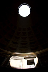 Through the Dome, Pantheon, Rome, Italy (MJ Reilly) Tags: roma rome italy italia monument pantheon light dome dark shadow window circle sunlight temple church yourphototipscom