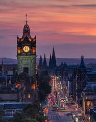 Edinburgh Sunset (rohan_chodankar) Tags: edinburgh scotland sony calton hill balmoral clock tower sunset telephoto magenta long exposure bbc benro kase filters travel princess street