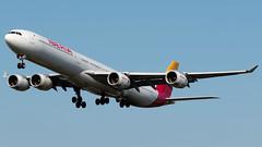 Iberia Airbus A340-642 EC-JBA (StephenG88) Tags: manchesterairport southside man egcc 23l 23r boeing airbus 1stjuly2019 1719 7119 lineup takeoff britishairways ba baw speedbird 777 772 772er 777200 777200er 777236er gymmg iberia ibe ib a340 a346 a340600 a340642 ecjba