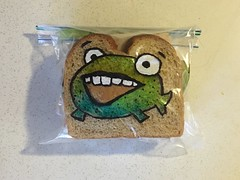 Happy Monday Fish (D Laferriere) Tags: cartoon bread happy monday smile fishy fish crust markers drawing attleboro laferriere dad sandwichbagdad sandwichbagart sandwich bag art sharpie