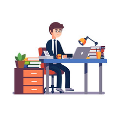 Businessman entrepreneur working at office desk. (anil.webrication) Tags: flat icon vector isolated illustration object white template background design concept metaphor cartoon clipart character man desk business desktop work home style job entrepreneur businessman accounting accountant laptop table male clerk people computer hard figure paperwork furniture executive employee corporate sitting caucasian suit modern young papers person workplace office happy