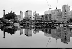 Skyline reflected in Salthouse Dock, Liverpool, UK (JH_1982) Tags: salthouse dock docklands skyline cityscape port river mersey pier head building buildings architecture architektur albert wapping canning highrises city urban reflection reflections spiegelung spiegelungen mirror spiegel water 镜像 鏡像 black white bw grey double mirrored gespiegelt artistic espejo miroir 鏡 거울 зеркало blackandwhite monochrome crane cranes liverpool 利物浦 リヴァプール 리버풀 ливерпуль england inglaterra angleterre inghilterra uk united kingdom vereinigtes königreich reino unido royaumeuni regno unito 英国 イギリス 영국 великобритания