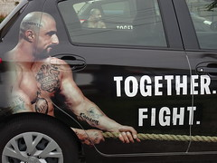 Apparently We Have To Fight Disease .... (mikecogh) Tags: woodville campaign disease tattoos cancer car slogan