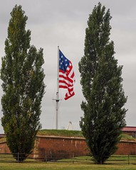 The large American flag flying over Fort McHenry in Baltimore today . (Bill A) Tags: warof1812 defendersday baltimore starsandstripes americanflag starspangledbanner oldglory fortmchenry