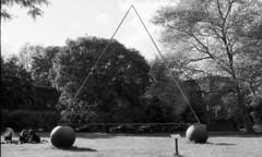 Pratt Campus (neilsonabeel) Tags: nikonfm2 nikon nikkor sculpture pratt brooklyn newyorkcity blackandwhite film analogue triangle