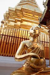 Gold (peterkelly) Tags: digital canon 6d asia southeastasia gadventures indochinaencompassed thailand chiangmai watphrathatdoisutheprajaworawiharn thepagodaoftheholyrelic golden gold monk bowl fence statue
