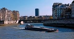 Paris / Barge on the Seine (Pantchoa) Tags: paris france seine fleuve eau ciel bleu îlesaintlouis îledelacité pontsaintlouis tour montparnasse quais péniche pénichecolombia navigation bateau