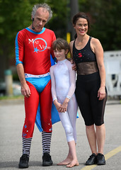 Family Portrait (Anthony Mark Images) Tags: matvelvetcharlieshow entertainers buskers streetperformers cirquedusoleil circusact comedy family husbandwife daughter smile whitetights blacktights redsuit bluetrunksandcape waterloobuskercarnival waterloo ontario canada people portrait dominiquemajor martinvarallo nikon d850 flickrclickx