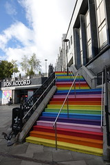 Colourful Aberdeen (Ian Robin Jackson) Tags: aberdeen scotland sony colours steps city pigeon streetphotography stairs flight scottish urban building architecture