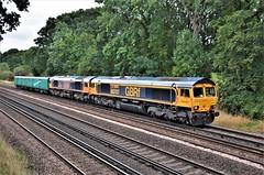 66707 & 66729 (stavioni) Tags: gbrf gb railfreight 66707 sir sam fay 66729 derby county barrier vehicle 64664 64707 liwet labezerin class66 shed diesel rail railway train locomotive freight