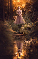 Reflection of Summer ({jessica drossin}) Tags: jessicadrossin portrait photography face woman wwwjessicadrossincom reflection gold trees netherlands dress beautiful