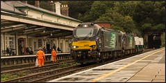 'Keep Bangor tidy' (peterdouglas1) Tags: bangorstation bangortunnel directrailservices 6d43 class88 88002 88009