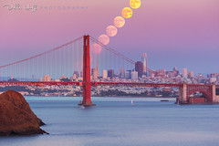 Harvest Moonrise (Della Huff Photography) Tags: marin headlands goldengatebridge moon full moonrise harvest astro astronomy sanfrancisco