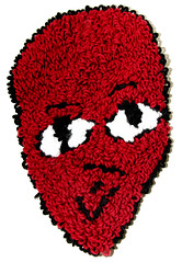 Damon (H o l l y.) Tags: rughooking rug fine art tapestry loop hole face character caricature funny silly weird eyes drawing acrylic yarn