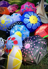 Umbrella Painting (SurFeRGiRL30) Tags: umbrella umbrellas colorful beautiful art artistic artwork bright brightcolors colours colourful flowers designs daisy polkadot smileys blue yellow red pink watermelon lemon green black parasol