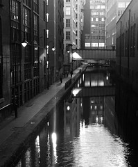 Canal Street, Manchester (Hammerhead27) Tags: bridge people blackandwhite reflection building history water monochrome manchester lights mono canal shadows iphone city urban