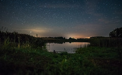 Starry Lake (free3yourmind) Tags: lake reflection stars starry nature grass giby poland scenic nightsky