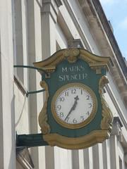 Marks & Spencer - High Street, Cheltenham - clock (ell brown) Tags: cheltenham cheltenhamspa gloucestershire england unitedkingdom greatbritain spatown tree trees highst highstcheltenham marksspencer clock