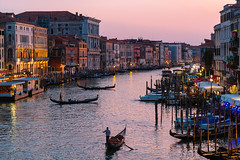 Venice At Dusk (genefever) Tags: europe italy rtw venezia venice gondola outdoors italian culture architecture travel destinations nautical vessel building exterior city tourism transportation water cityscape dusk famous place sunset history boats rialto bridge romantic canal grand