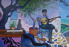 Greek Courtyard (mikecogh) Tags: woodville greek courtyard mural bouzouki idyllic rustic charm publicart street art