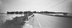 bridge, roadway, on the way to McCloon's, Island Road, Spruce Head, Maine, Noon Pinhole Model 612, Ilford FP4+, HC-110 developer, 9.12.19 (steve aimone) Tags: bridge roadway islands islandroad sprucehead maine midcoast noonpinhole noonpinholemodel612 pinhole ilfordfp4 hc110developer doublesquare 120 120film film mediumformat monochrome monochromatic blackwhite landscape