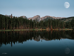 Transition (Lisa Saffell) Tags: moon landscapes lumix panasonic microfourthirds mountains reflections rocky mountain national park
