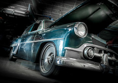 BEL AIR (Dave GRR) Tags: old vintage retro classic dust garage workshop service tires rims chrome chevrolet bel air olympus toronto show