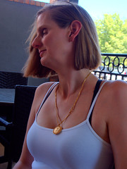 Wine Club (over.leaf) Tags: hotwife sexy tanktop denim shorts bra wife woman blonde milf