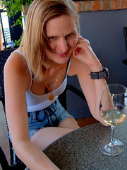Wine Club (over.leaf) Tags: hotwife sexy tanktop denim shorts bra cleavage downblouse wife woman blonde milf