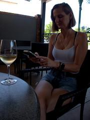 Wine Club (over.leaf) Tags: hotwife sexy tanktop denim shorts bra wine wife woman blonde milf