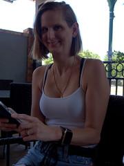 Wine Club (over.leaf) Tags: hotwife sexy tanktop denim shorts bra cleavage wife woman blonde milf