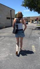 Wine Club (over.leaf) Tags: hotwife sexy tanktop denim shorts bra legs ass wife woman blonde milf
