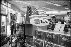 Southern Indiana (icki) Tags: august2019 cocacola in indiana southernindiana americanflag blackandwhite gasstation nopeople