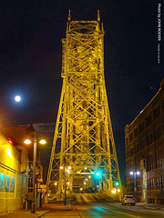 Aerial Lift Bridge and Moon, 16 July 2019 (photography.by.ROEVER) Tags: minnesota 2019 july july2019 vacation roadtrip 2019vacation 2019roadtrip minnesota2019roadtrip minnesota2019vacation duluth stlouiscounty canalpark bridge liftbridge aerialliftbridge slakeave slakeavenue night nightphoto nightphotograph nightphotography evening moon usa