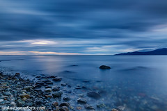 Smoothness (james c. (vancouver bc)) Tags: bluehour pink blue cloudscape evening longexposure smooth twilight dusk pacific reflection sunset acadiabeach vancouver bc canada britishcolumbia park rock sky sea ocean cloud water amazing background beautiful landscape nature scene scenery scenic wallpaper island beach