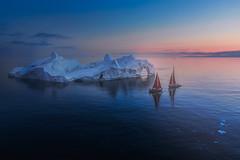 Night Encountering (nicointhebus (nicolas monnot)) Tags: greenland arctic sailing iceberg drone aerial sky dji mavic mavic2 yacht sailingboat redsail ilulissat diskobay nature seascape landscape ice sunset midnightsun