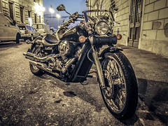 Bikes of Trieste (Theirion) Tags: italy trieste friuliveneziagiulia huawei huaweip10 lightroom blue gold night light street city bike honda custom chopper