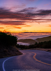 Into the Clouds (Jaykhuang) Tags: portolavalley southbay bayarea lowfog hills sunrise clouds redcloud morning jayhuangphotography curvyroad california