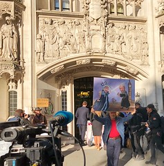 Never go to the Supreme Court without a painting. (Steve Nimmons | Author) Tags: politics britain uk london ginamiller law legal supremecourt remain remainer brexit eu europeanunion parliament borisjohnson johnbercow painting journalism press reporter journalist tv camera outside art event national