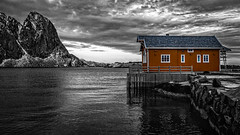 Norway (mlk.dahoui) Tags: norway rob house bw blackandwhite colour sky clouds nikon nikonflickraward mountain fjord ocean sea bad weather yellow light nikond750 landscape seascape photography photographer picture travel trip winter cold north polar circle windows monochrome europe beauty beautiful capture look view