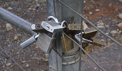 """As Crocodile Dundee might say, """"This!, is a lock!"""" (spelio) Tags: cbrregion act canberra sep 2019 confusion police departments authority power water gates aviation rangers owners bfc rfs ses excess security"""
